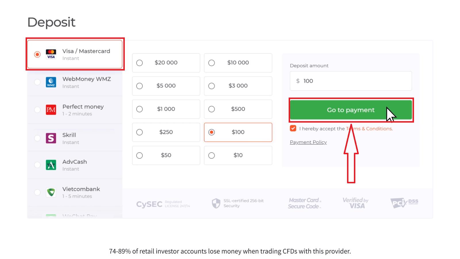 Comment se connecter et déposer de l'argent dans IQ Option