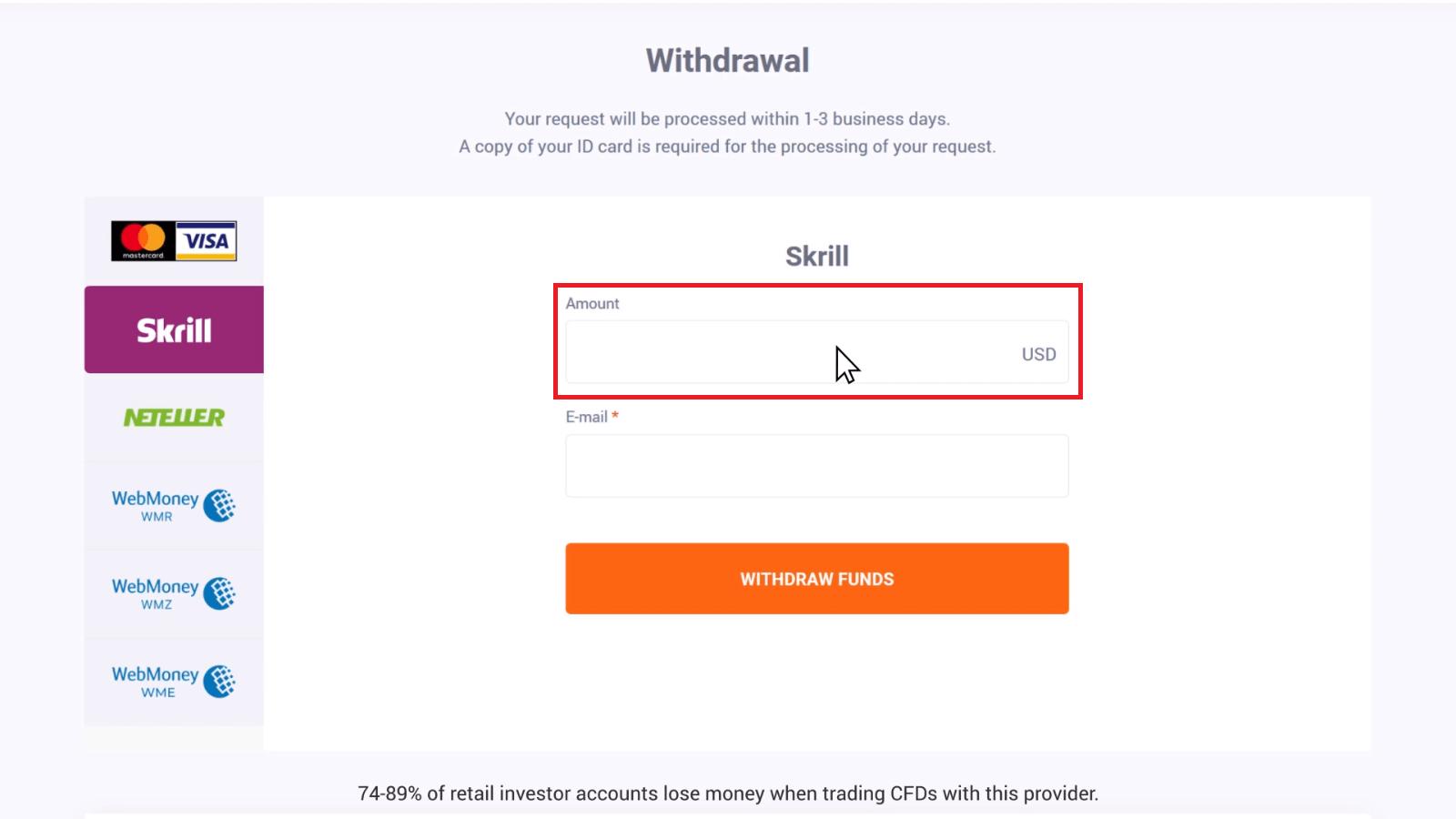 Comment retirer et faire un dépôt d'argent dans IQ Option