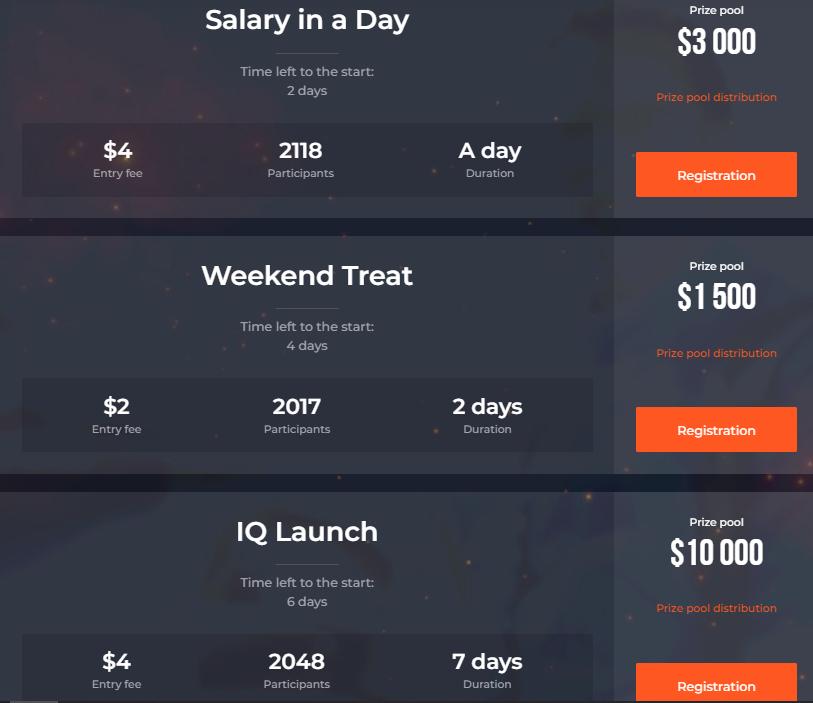 Tournois de trading IQ Option - Récompense jusqu'à 50000 $